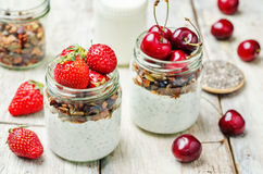 Chia seeds granola Greek yoghurt pudding with berries. Toning. selective focus Stock Photos