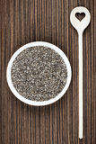 Chia Seeds with Heart Spoon Royalty Free Stock Photo