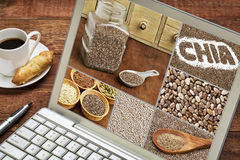 Chia seeds - image collage on laptop Royalty Free Stock Photography