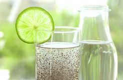 Free Chia Seeds In Glass Of Water On Background Royalty Free Stock Photo - 105741055
