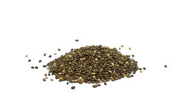 Chia seeds isolated on white background. Macro shot Stock Photography