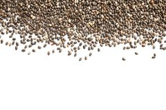 Chia seeds isolated on white. Top view royalty free stock image