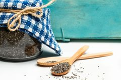 Chia seeds in a jar royalty free stock photo