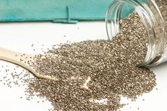 Chia seeds in a jar stock photo