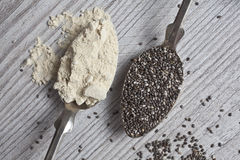 Chia seeds and Maca powder Royalty Free Stock Images