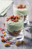 Chia seeds matcha pudding Stock Photos