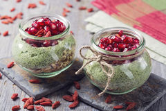 Chia seeds matcha pudding stock photos