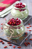 Chia seeds matcha pudding Stock Photo