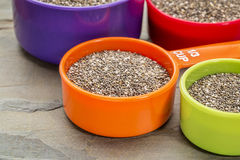 Chia seeds in measuring cups Stock Photography