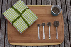 Chia seeds in measuring spoons Stock Photography