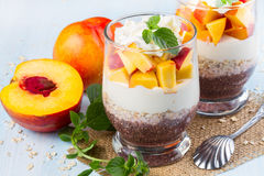 Chia seeds with oat flakes and peaches Royalty Free Stock Images