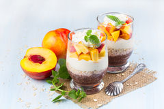 Chia seeds with oat flakes and peaches. Royalty Free Stock Photography