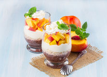 Chia seeds with oat flakes and peaches Royalty Free Stock Image