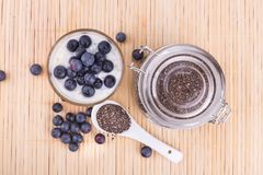 Chia seeds pudding with blueberry fruits, healthy nutritious ant. I-oxidant superfood, ideal for breakfast royalty free stock photos
