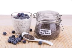 Chia seeds pudding with blueberry fruits, healthy nutritious ant. I-oxidant superfood, ideal for breakfast stock image