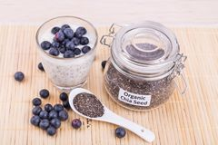 Chia seeds pudding with blueberry fruits, healthy nutritious ant. I-oxidant superfood, ideal for breakfast royalty free stock photography