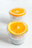 Chia seeds pudding. With oranges stock photo