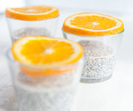 Chia seeds pudding. With oranges royalty free stock photos