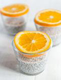 Chia seeds pudding. With oranges stock photos