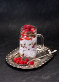 Chia seeds pudding with raspberries and strawberries Stock Photo