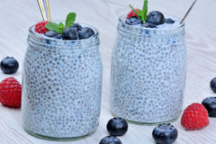 Chia seeds pudding with raspberry and blueberry in a jars Royalty Free Stock Photography