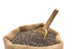 Chia seeds in a sack stock photo