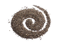 Chia seeds. Scattered in the form of a curl on a white background Royalty Free Stock Images