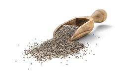Chia seeds in scoop. On white background Royalty Free Stock Image