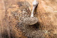 Chia seeds on a spoon stock photography