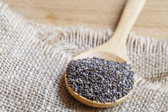 Chia seeds, super food, in wooden spoon on burlap and wood background Stock Images