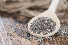 Chia Seeds sur une cuillère en bois Photographie stock