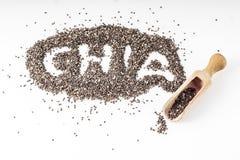 Chia seeds  on white background Royalty Free Stock Photos