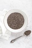 Chia seeds on white baclground directly above Stock Photography