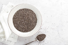 Chia seeds on white baclground directly above Stock Image