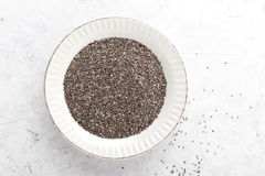 Chia seeds on white baclground directly above Royalty Free Stock Photo