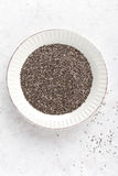 Chia seeds on white baclground directly above Stock Images