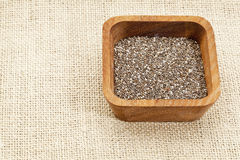 Chia seeds in wood bowl Stock Photography
