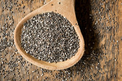Chia Seeds in Wood Spoon Royalty Free Stock Image