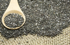 Chia seeds on wood spoon. Selective focus Royalty Free Stock Image