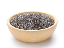 Chia seeds. In wooden bowl Royalty Free Stock Photos