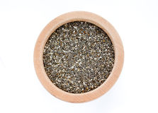 Chia seeds on wooden bowl Stock Photography