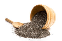 Chia seeds in a wooden bowl Royalty Free Stock Image
