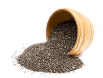 Chia seeds in a wooden bowl Royalty Free Stock Photo