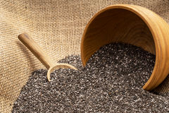 Chia seeds with wooden bowl Royalty Free Stock Photography