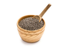 Chia seeds in a wooden bowl Stock Image