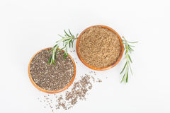 Chia seeds in wooden bowls Royalty Free Stock Images