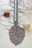 Chia seeds on wooden cutting board Royalty Free Stock Image