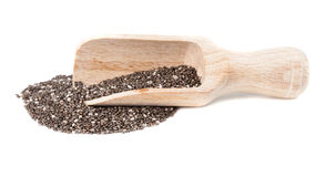 Chia seeds in a wooden scoop Stock Image