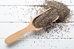 Chia seeds in wooden scoop Royalty Free Stock Photo