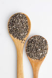 Chia seeds. In wooden spoon Royalty Free Stock Photos